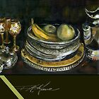 China Cabinet Still Life I. FA Moore signature scarf, in dark olive by F.A. Moore