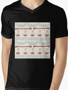 Seamless sea pattern. Vector illustration with marine elements. Mens V-Neck T-Shirt