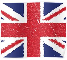 UK Union Jack Scribble Abstract Flag Background Poster