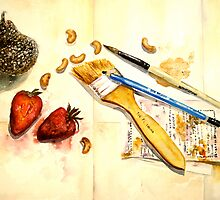 Still Life With Strawberry by © Janis Zroback