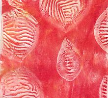 RED  ABSTRACT GEL MONO PRINT by monaruth