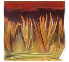 spiky grass red sky Poster
