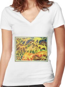 ANIMAL PRINT WOODCUT HAND COLORED Women's Fitted V-Neck T-Shirt