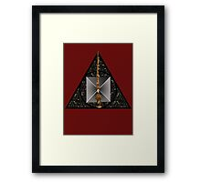 Deathly Hallows symbol with realistic objects Framed Print
