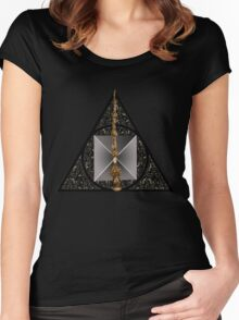 Deathly Hallows symbol with realistic objects Women's Fitted Scoop T-Shirt