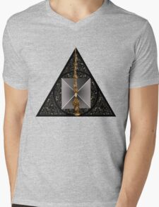 Deathly Hallows symbol with realistic objects Mens V-Neck T-Shirt