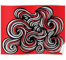 Sweaney Abstract Expression Red White Poster