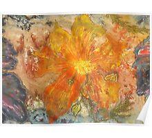 Stefania Silk Arts: Yellow abstract Himalayan Meconopsis Poster
