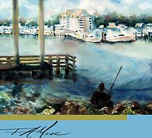 Gone Fishing. FA Moore signature scarf, in Fisher Blue by F.A. Moore