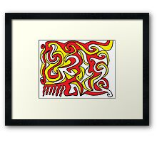 Casey Abstract Expression Yellow Red Black Framed Print