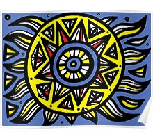 Sasala Abstract Expression Yellow Blue Poster