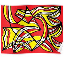 Magalski Abstract Expression Yellow Red Poster