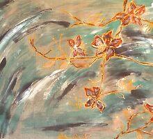 Abstract Cherryblossoms I, Stefania Silk Arts by Stefanie Wilhelm
