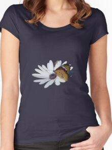 White Daisy and Butterfly Vector Background Removed Women's Fitted Scoop T-Shirt