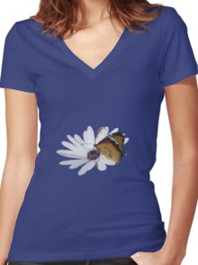White Daisy and Butterfly Vector Background Removed Women's Fitted V-Neck T-Shirt