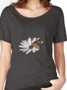 White Daisy and Butterfly Vector Background Removed Women's Relaxed Fit T-Shirt
