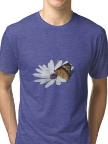 White Daisy and Butterfly Vector Background Removed Tri-blend T-Shirt