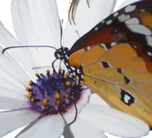 White Daisy and Butterfly Vector Background Removed Sticker