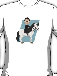Boy riding a horse cartoon T-Shirt