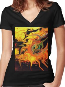 abstract expressionist doubt seed Women's Fitted V-Neck T-Shirt