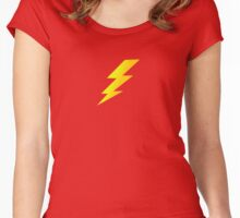 Lightening Bolt Super Character Cartoon T-Shirt Duvet Women's Fitted Scoop T-Shirt