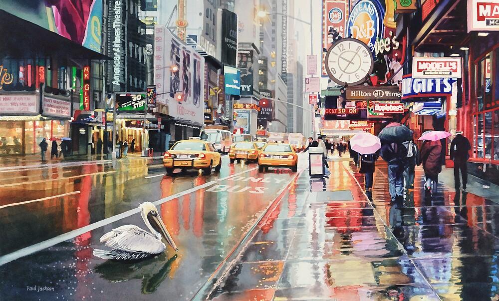 """Detour"" Pelican in New York Watercolor by Paul Jackson"