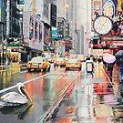 """Detour"" Pelican in New York Watercolor by Paul Jackson"