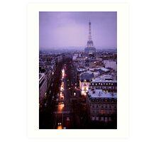 Eiffel Tower from Arc de Triumph at Dusk Art Print