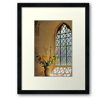 Norman Glass Window Church And Flowers Framed Print