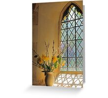 Norman Glass Window Church And Flowers Greeting Card