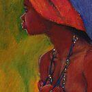 Lady With Red Head-Dress by Jann Ashworth
