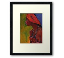 Lady With Red Head-Dress Framed Print