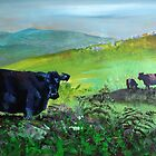 Cows on Dartmoor Landscape Painting by MikeJory