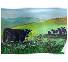 Cows on Dartmoor Landscape Painting Poster
