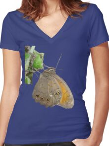 Meadow Brown Butterfly Feeding On Aphids Women's Fitted V-Neck T-Shirt