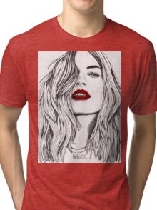 Girl with the Red Lips Tri-blend T-Shirt
