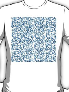 Vintage Swirl Floral Blue on White T-Shirt