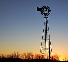 Windmill Alone At Sunset by RenieRutten