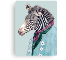 Zebra Blue Canvas Print