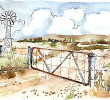 A windpomp and a gate by Maree  Clarkson