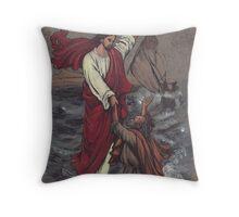 Christ Saves Peter Throw Pillow