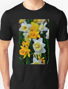 White and Yellow Daffodils in the Abstract T-Shirt