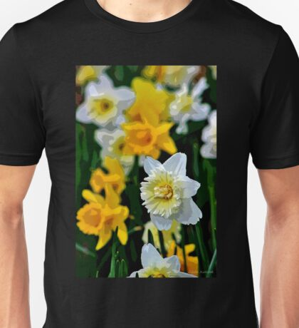 White and Yellow Daffodils in the Abstract Unisex T-Shirt