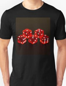 Dice isolated on black background Unisex T-Shirt
