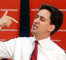 ed miliband pointing at himself by pallasades