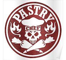 Pastry Chef Skull Logo Red Poster