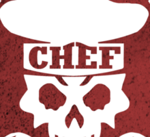 Pastry Chef Skull Logo Red Sticker