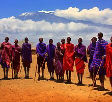 Kilimanjaro and Masai villagers. Kenya, Africa. by PhotosEcosse