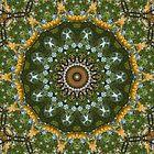 Yellow Tree Flower Kaleidoscope Art 4 by Christopher Johnson