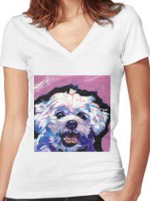 Maltese Dog Bright colorful pop dog art Women's Fitted V-Neck T-Shirt
